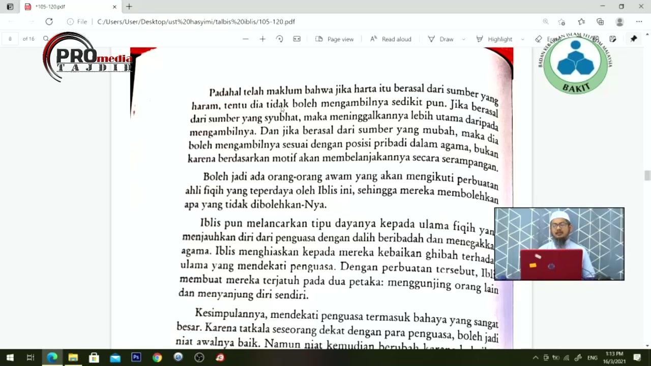 16-03-2021 Ustaz Ahmad Hasyimi : Syarah Talbis Iblis